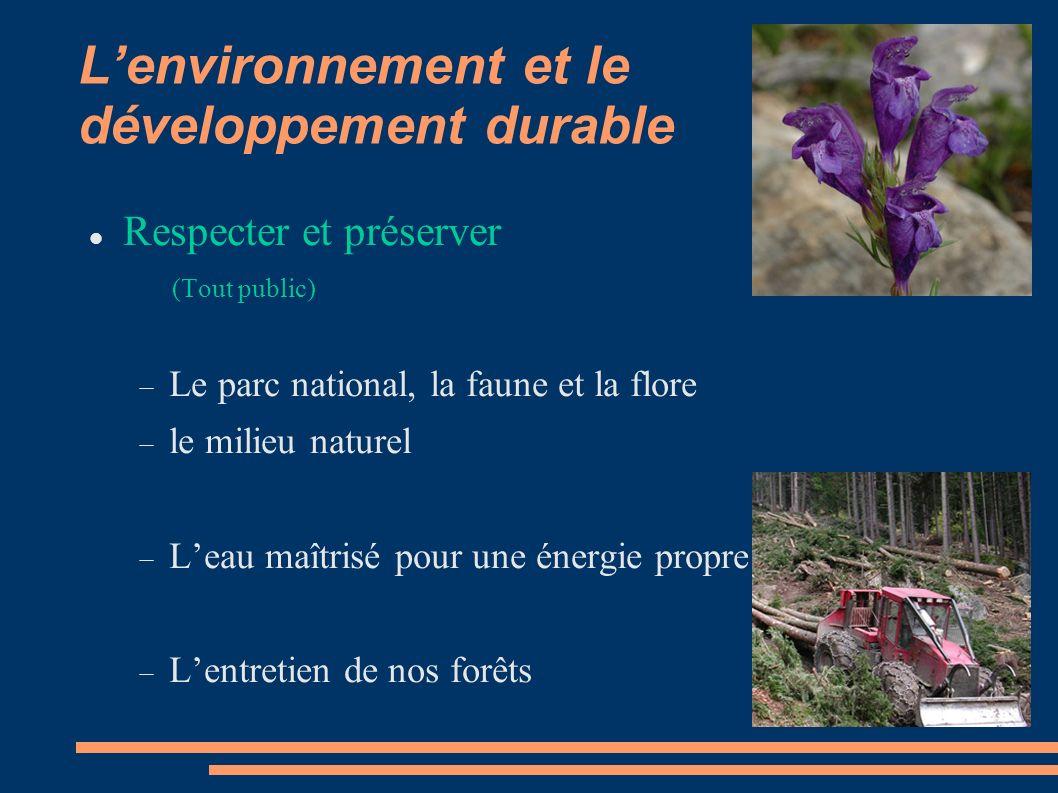 L'environnement et le développement durable