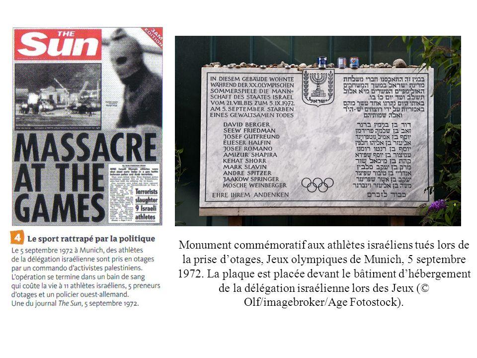 Monument commémoratif aux athlètes israéliens tués lors de la prise d'otages, Jeux olympiques de Munich, 5 septembre 1972.