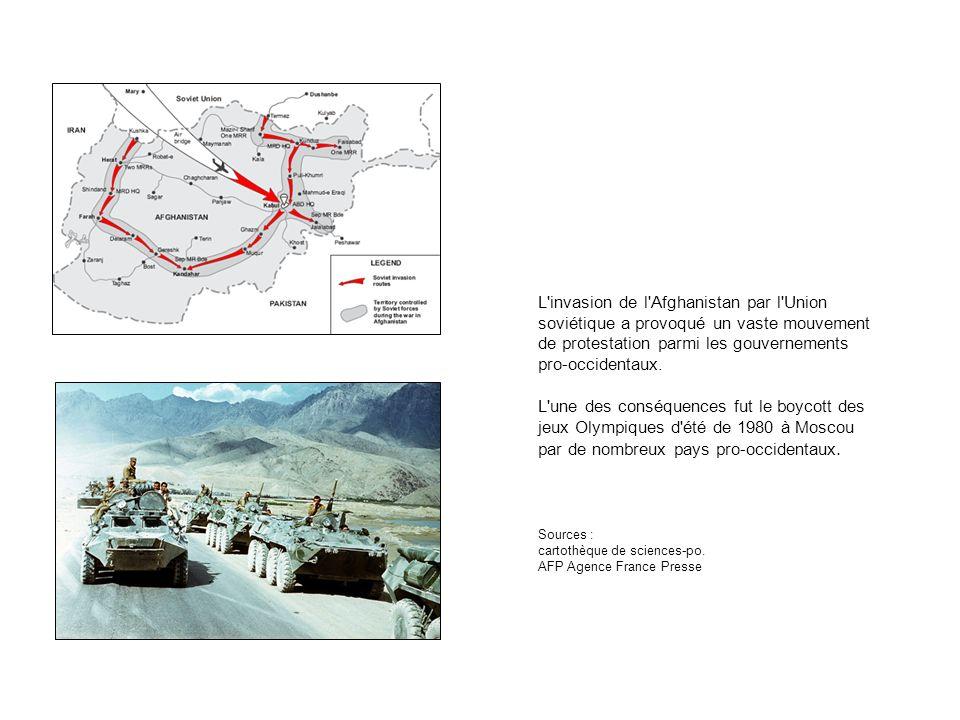 L invasion de l Afghanistan par l Union soviétique a provoqué un vaste mouvement de protestation parmi les gouvernements pro-occidentaux.