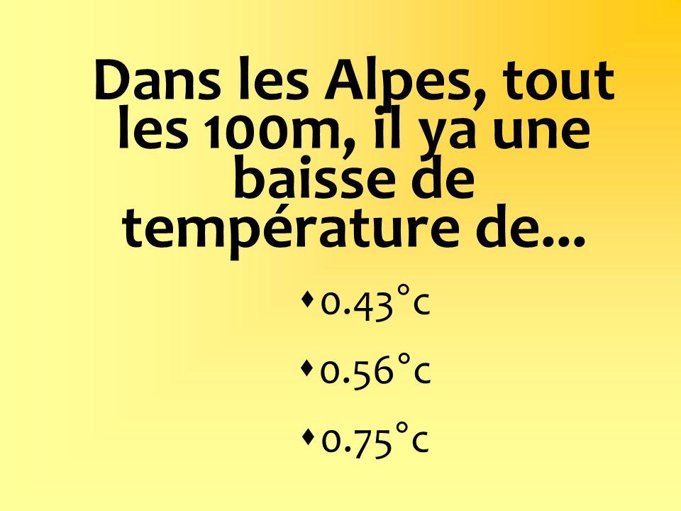 Dans les Alpes, tout les 100m, il ya une baisse de température de...