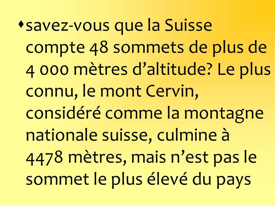 savez-vous que la Suisse compte 48 sommets de plus de 4 000 mètres d'altitude.