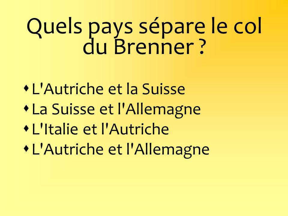 Quels pays sépare le col du Brenner