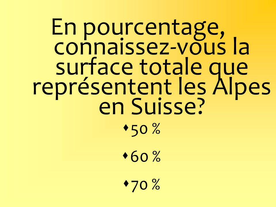En pourcentage, connaissez-vous la surface totale que représentent les Alpes en Suisse