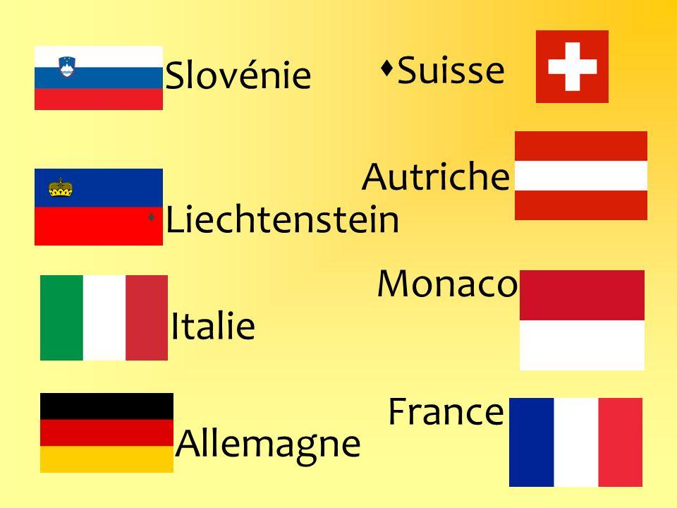 Suisse Slovénie Autriche Liechtenstein Monaco Italie France Allemagne