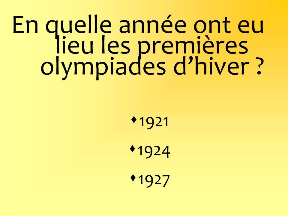 En quelle année ont eu lieu les premières olympiades d'hiver
