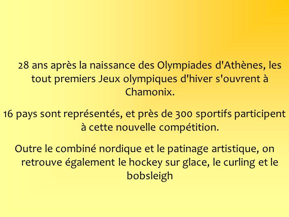 28 ans après la naissance des Olympiades d Athènes, les tout premiers Jeux olympiques d hiver s ouvrent à Chamonix.