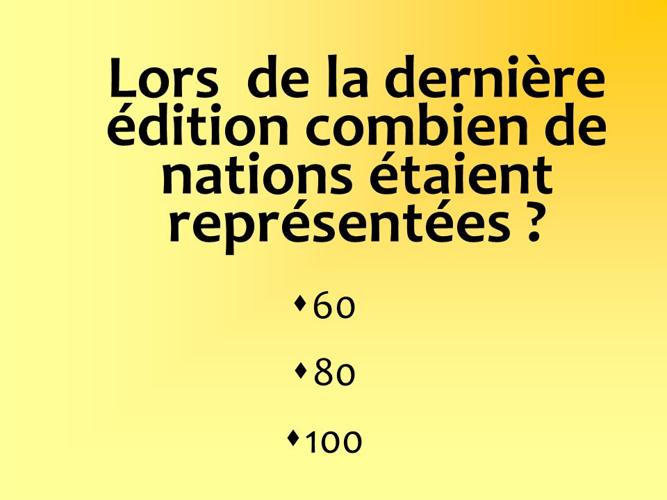 Lors de la dernière édition combien de nations étaient représentées