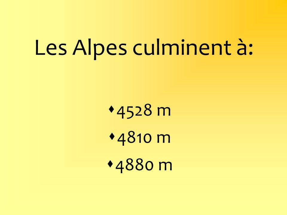 Les Alpes culminent à: 4528 m 4810 m 4880 m