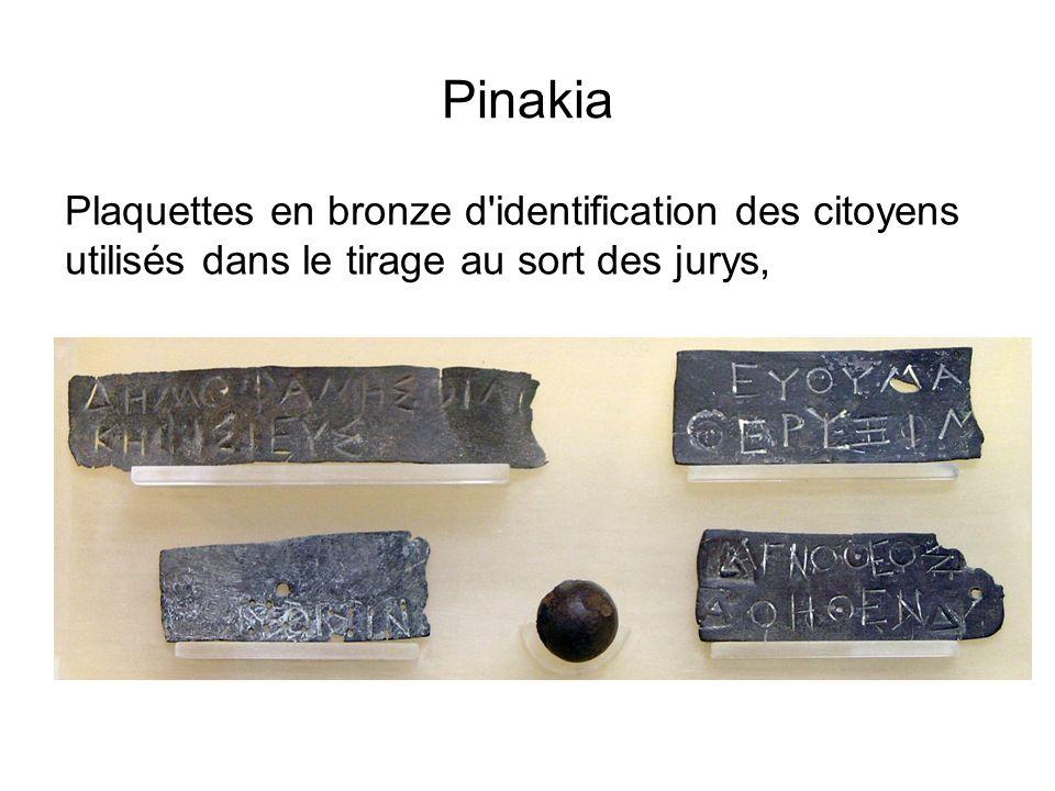 Pinakia Plaquettes en bronze d identification des citoyens utilisés dans le tirage au sort des jurys,