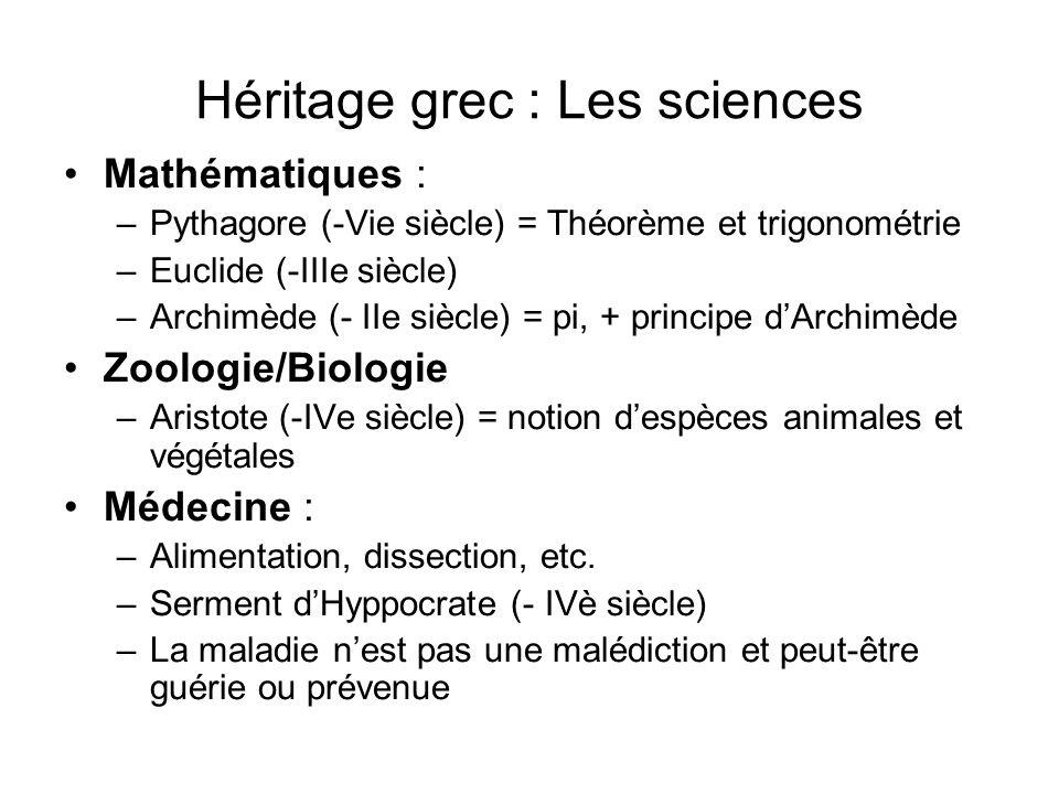 Héritage grec : Les sciences