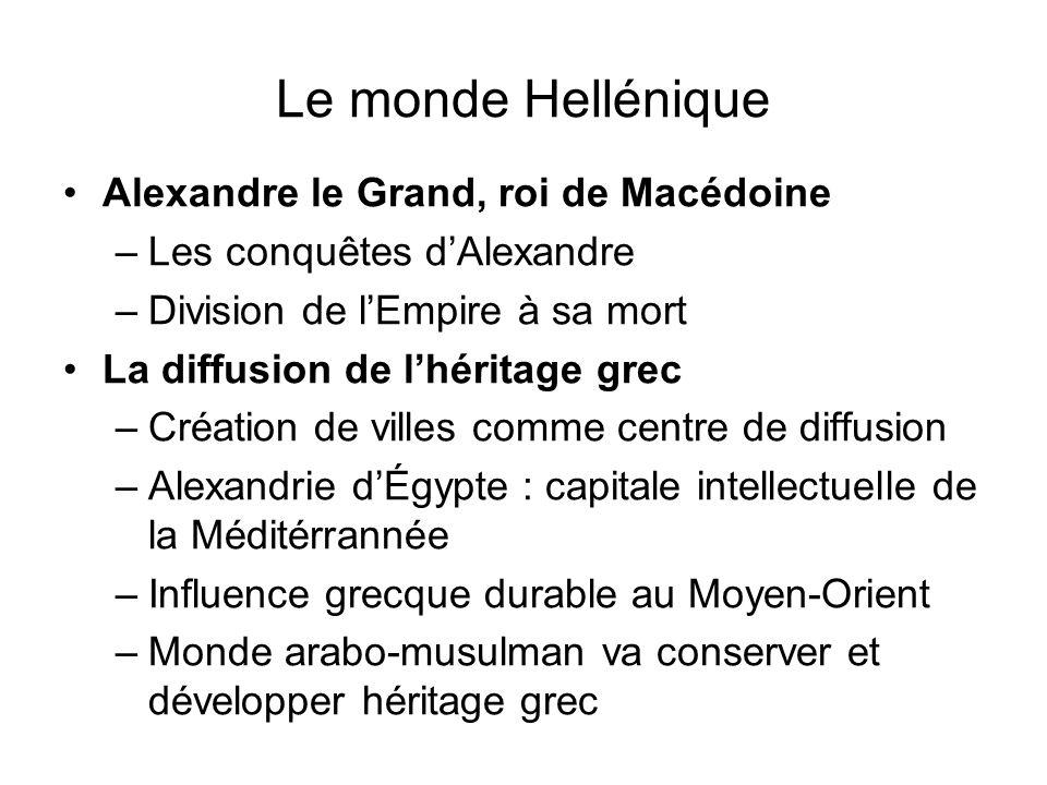 Le monde Hellénique Alexandre le Grand, roi de Macédoine