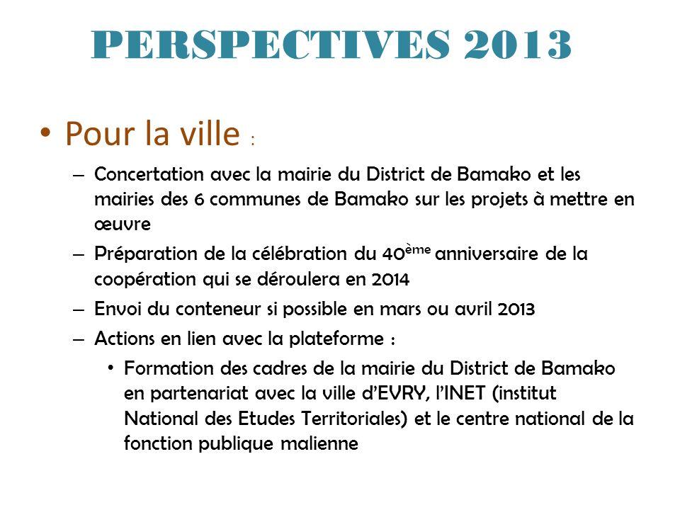 PERSPECTIVES 2013 Pour la ville :