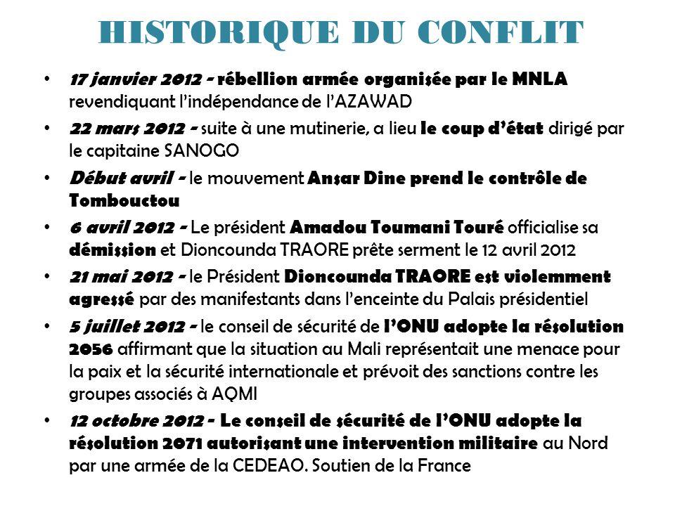 HISTORIQUE DU CONFLIT 17 janvier 2012 - rébellion armée organisée par le MNLA revendiquant l'indépendance de l'AZAWAD.