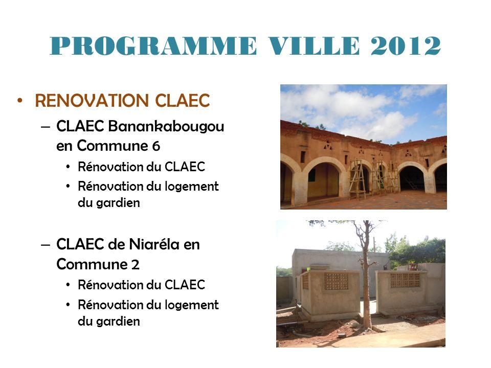 PROGRAMME VILLE 2012 RENOVATION CLAEC CLAEC Banankabougou en Commune 6
