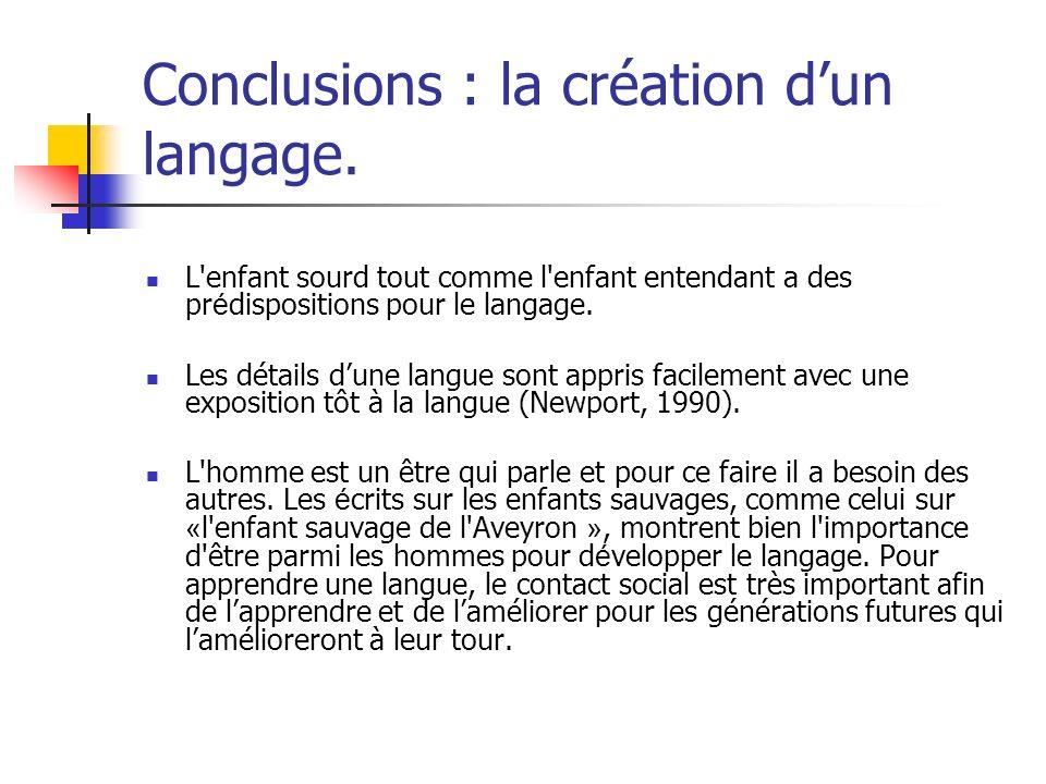Conclusions : la création d'un langage.