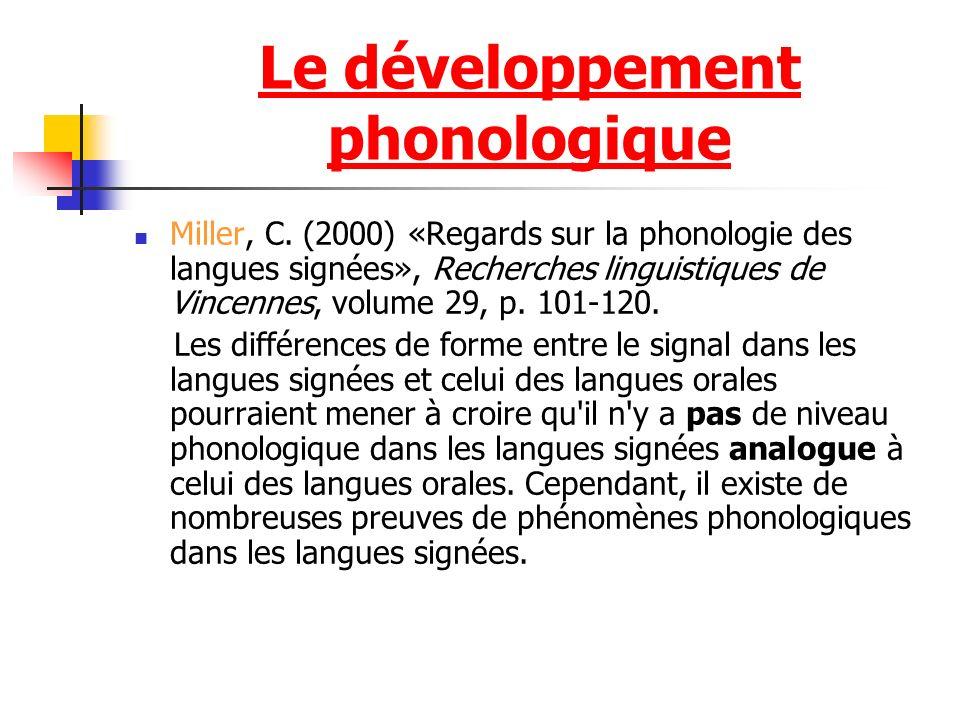 Le développement phonologique