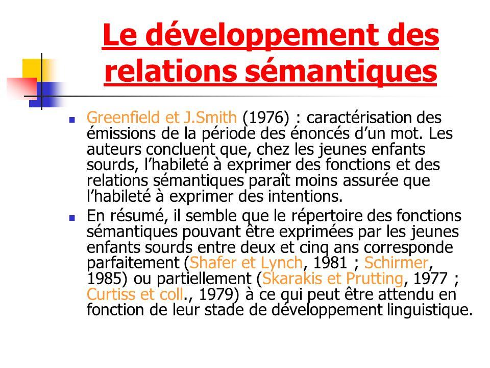 Le développement des relations sémantiques