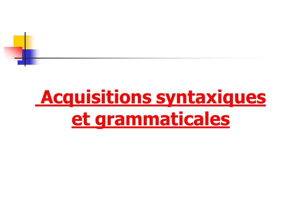 Acquisitions syntaxiques et grammaticales