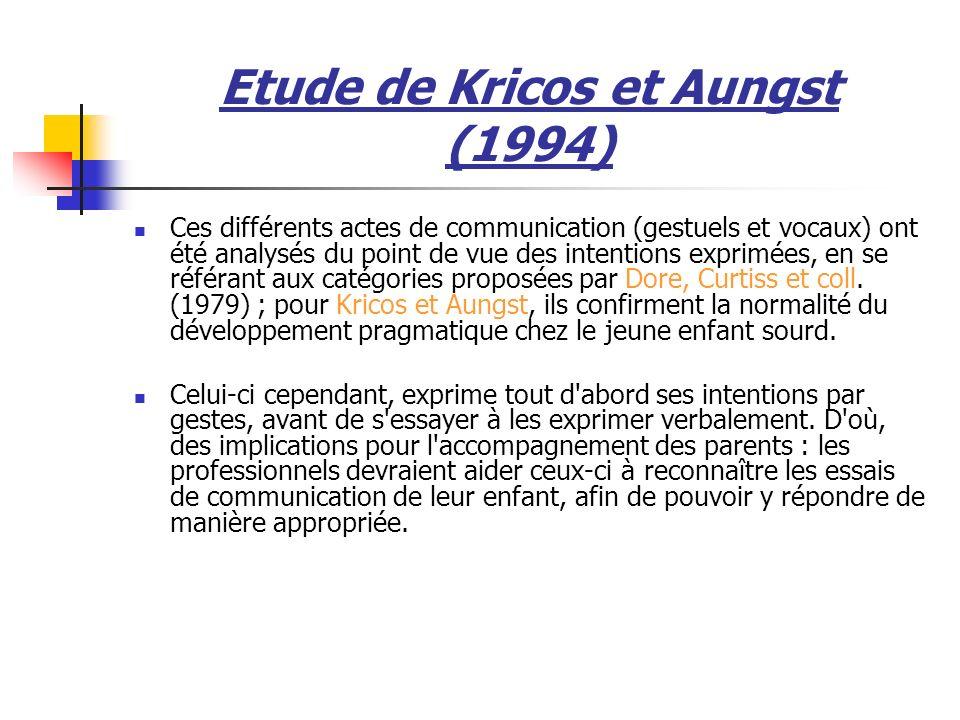 Etude de Kricos et Aungst (1994)