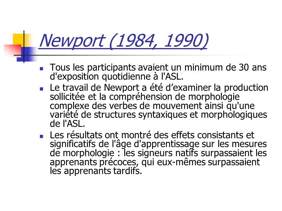 Newport (1984, 1990) Tous les participants avaient un minimum de 30 ans d exposition quotidienne à l ASL.