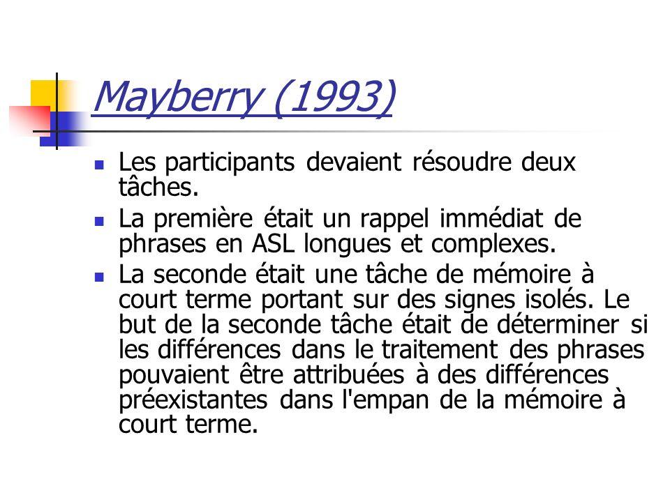 Mayberry (1993) Les participants devaient résoudre deux tâches.