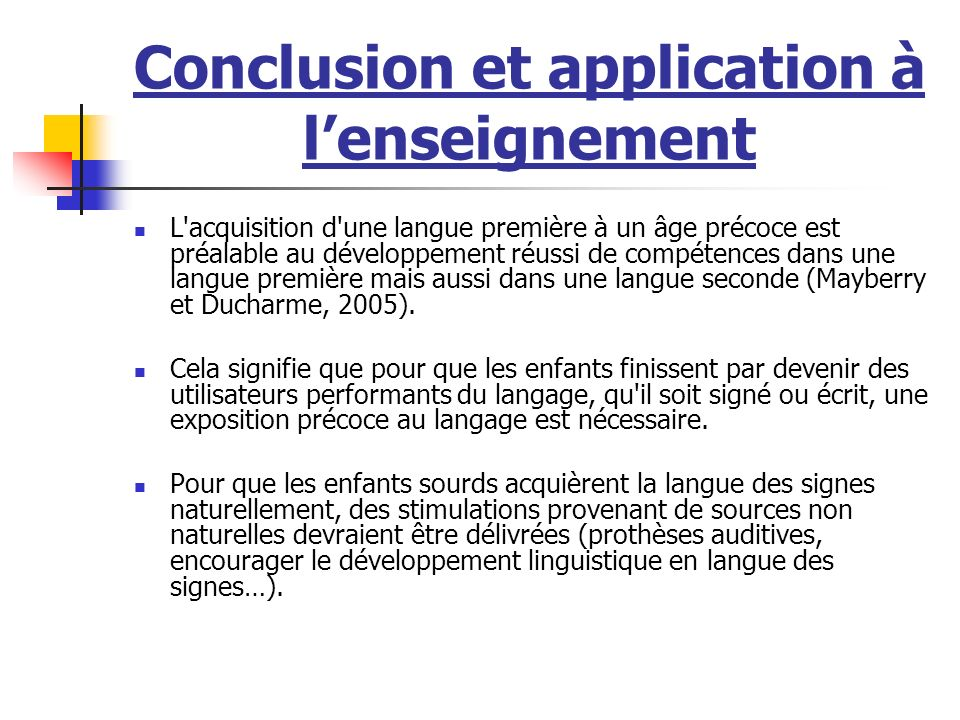 Conclusion et application à l'enseignement