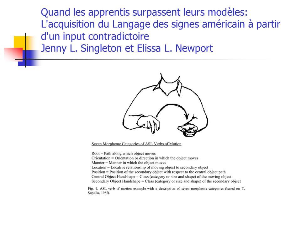 Quand les apprentis surpassent leurs modèles: L acquisition du Langage des signes américain à partir d un input contradictoire Jenny L.