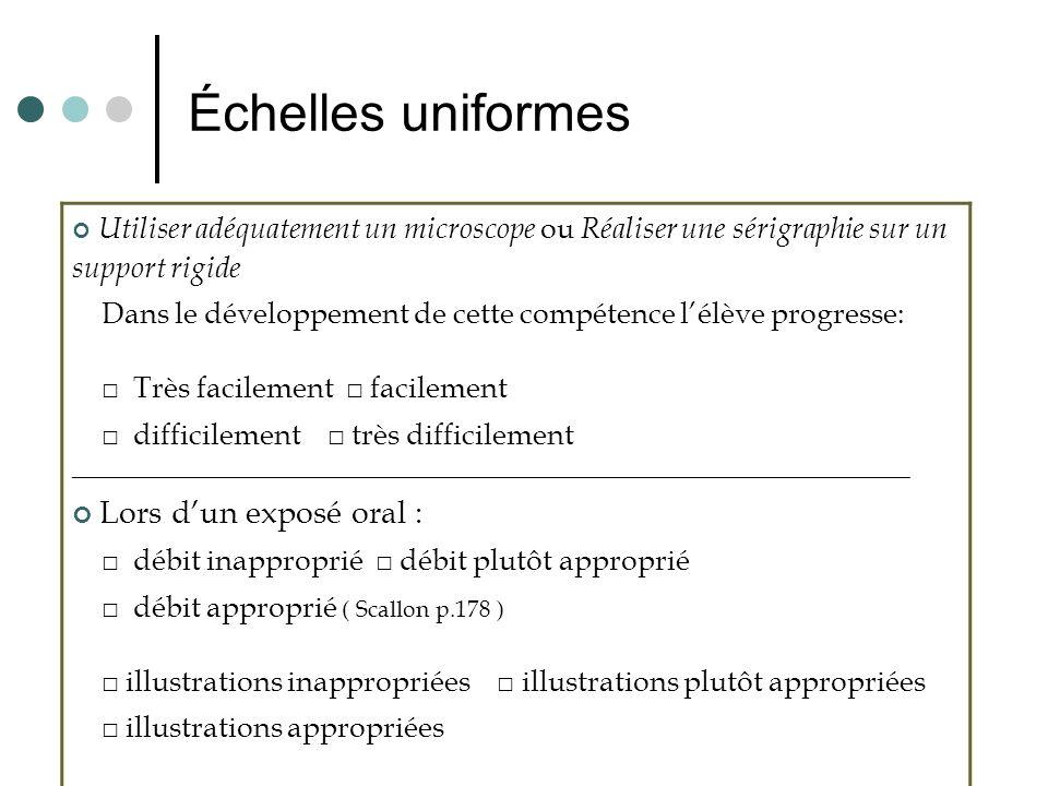 Échelles uniformes Lors d'un exposé oral :