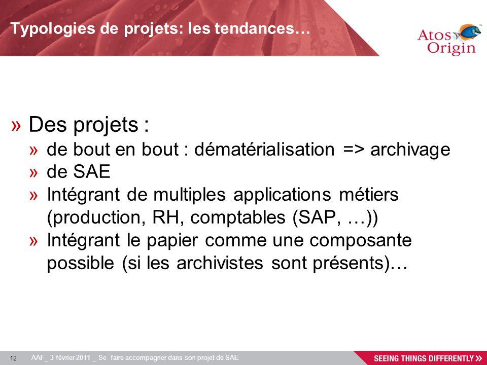 Typologies de projets: les tendances…