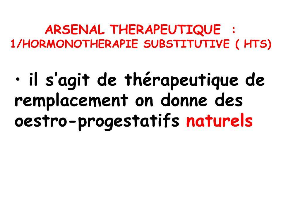 ARSENAL THERAPEUTIQUE : 1/HORMONOTHERAPIE SUBSTITUTIVE ( HTS)