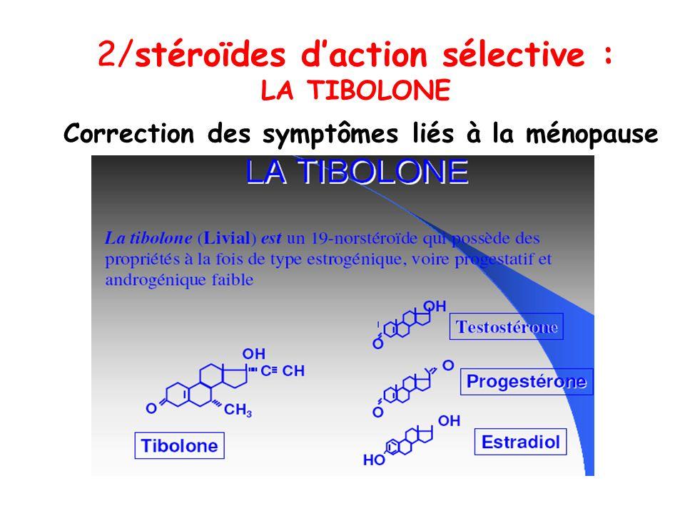 2/stéroïdes d'action sélective : LA TIBOLONE Correction des symptômes liés à la ménopause