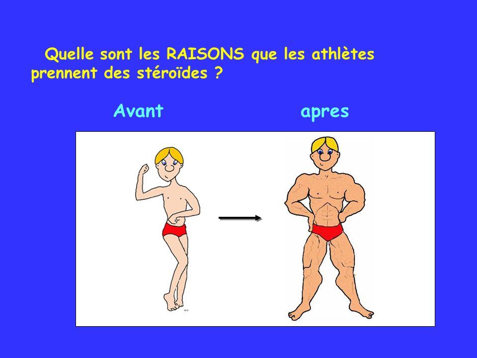 Quelle sont les RAISONS que les athlètes prennent des stéroïdes