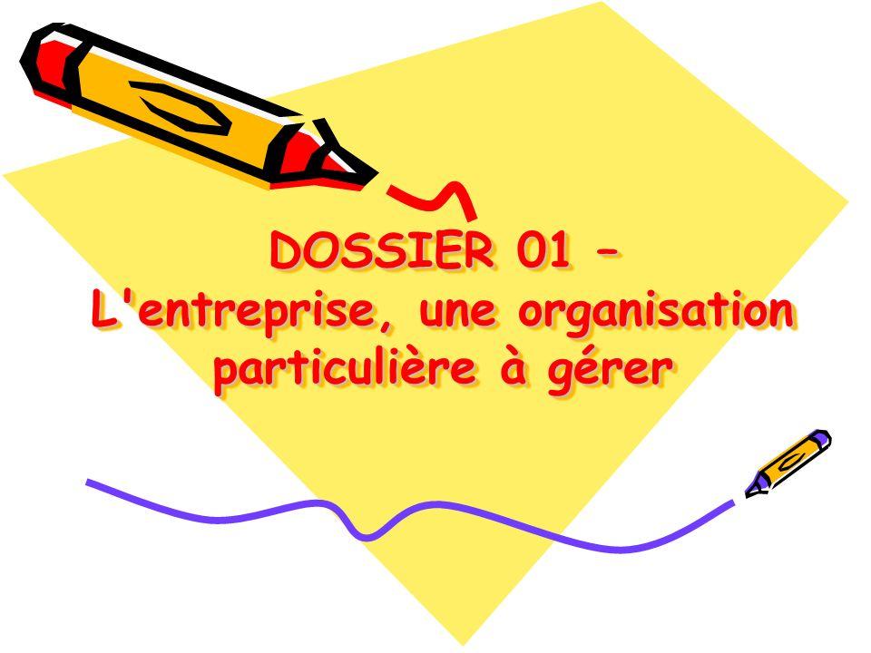 DOSSIER 01 – L entreprise, une organisation particulière à gérer