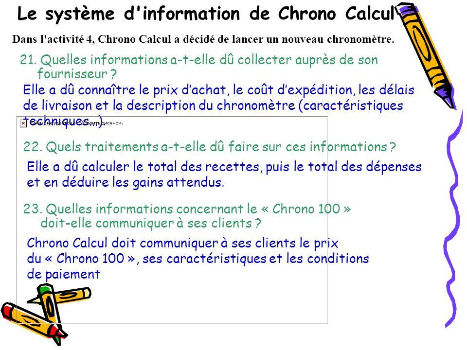 Le système d information de Chrono Calcul