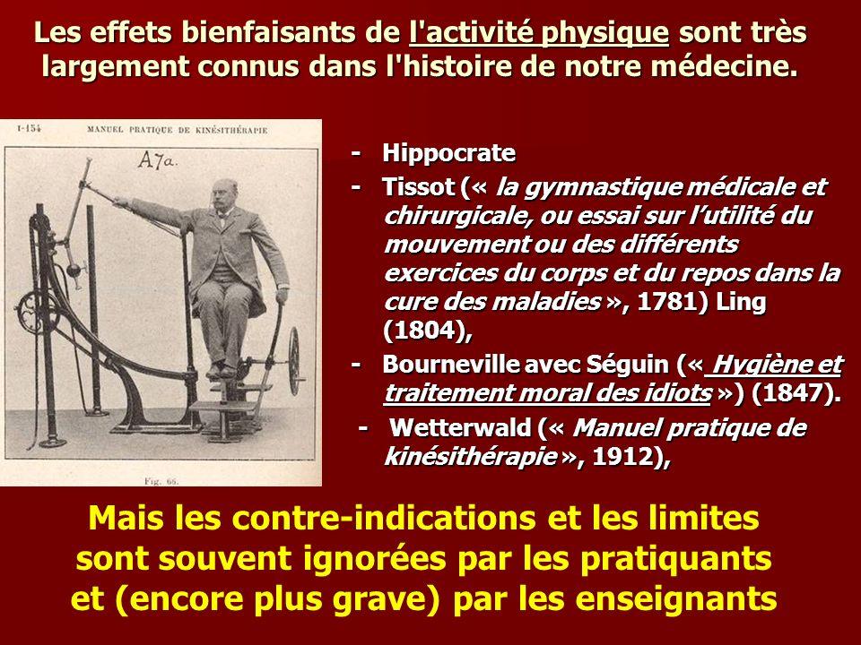Les effets bienfaisants de l activité physique sont très largement connus dans l histoire de notre médecine.