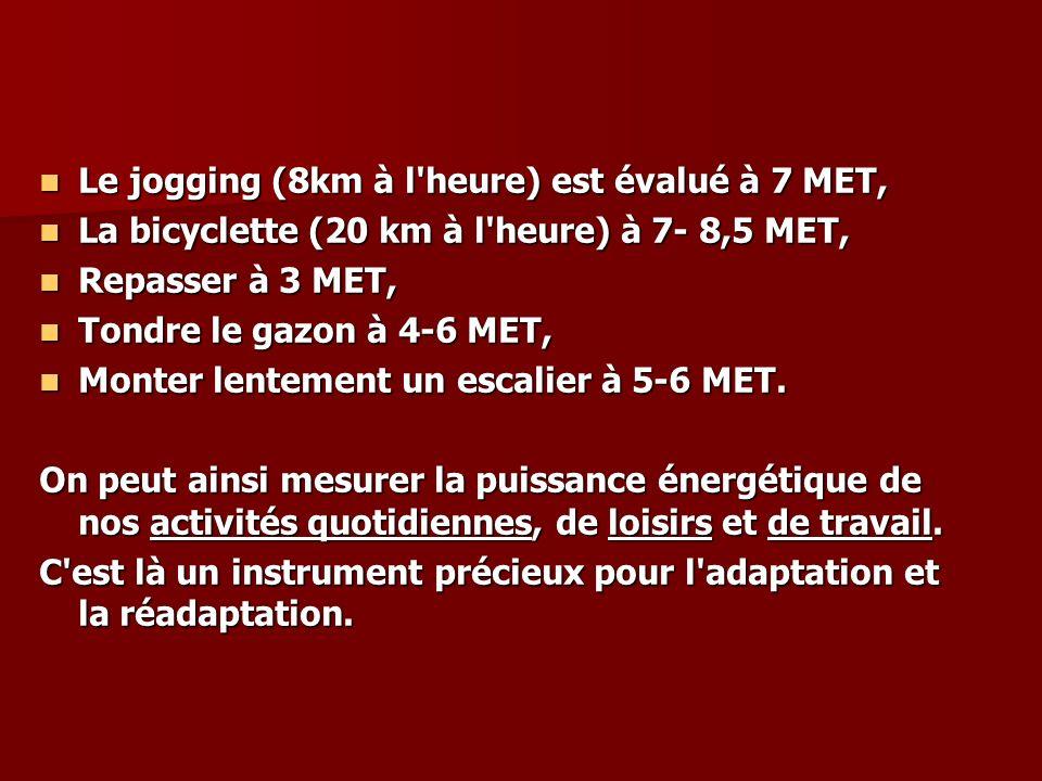 Le jogging (8km à l heure) est évalué à 7 MET,