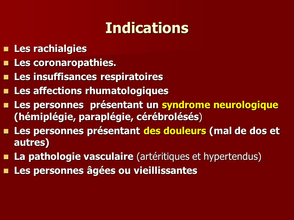 Indications Les rachialgies Les coronaropathies.