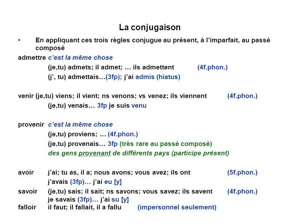 La conjugaison En appliquant ces trois règles conjugue au présent, à l'imparfait, au passé composé.