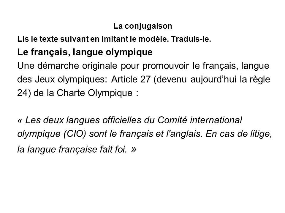 Le français, langue olympique