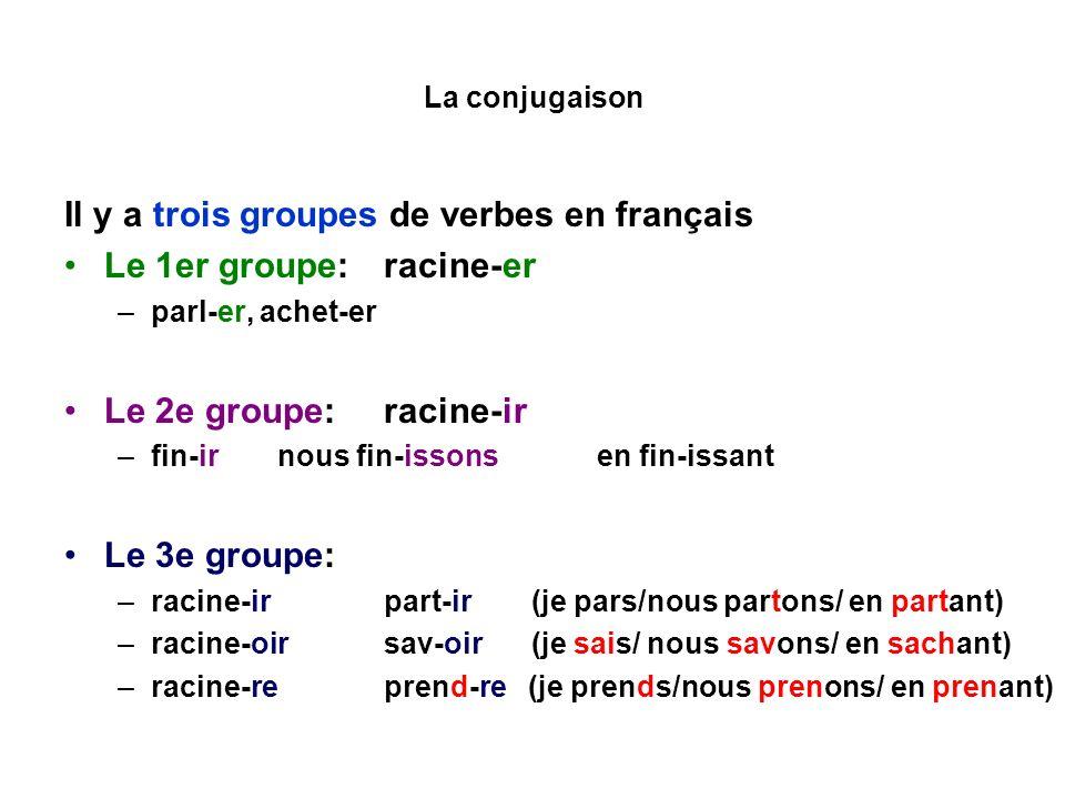 Il y a trois groupes de verbes en français Le 1er groupe: racine-er