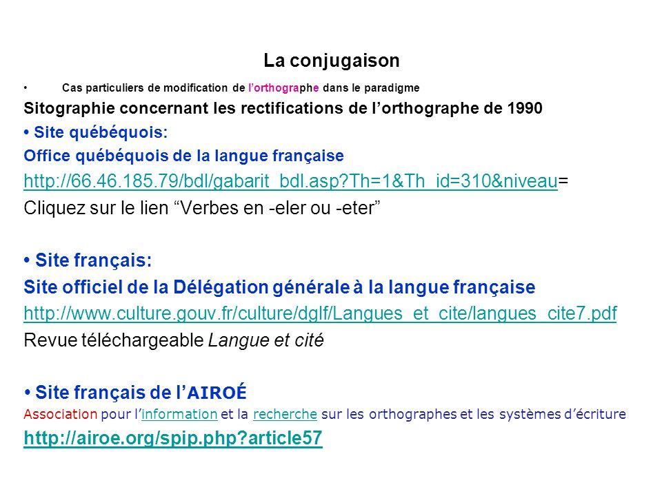 Cliquez sur le lien Verbes en -eler ou -eter • Site français: