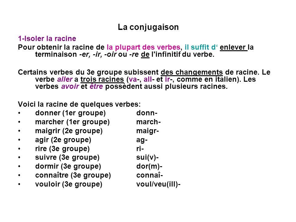 La conjugaison 1-Isoler la racine