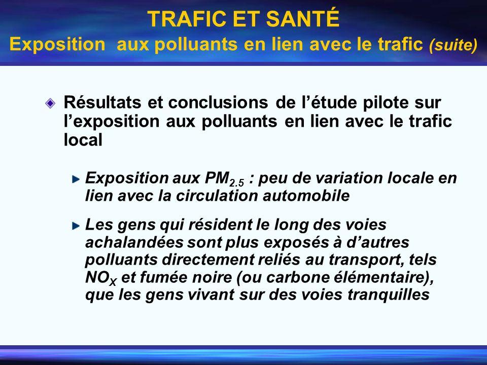 TRAFIC ET SANTÉ Exposition aux polluants en lien avec le trafic (suite)