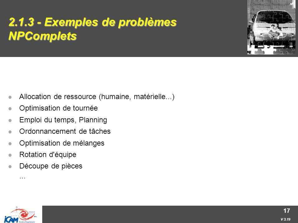 2.1.3 - Exemples de problèmes NPComplets