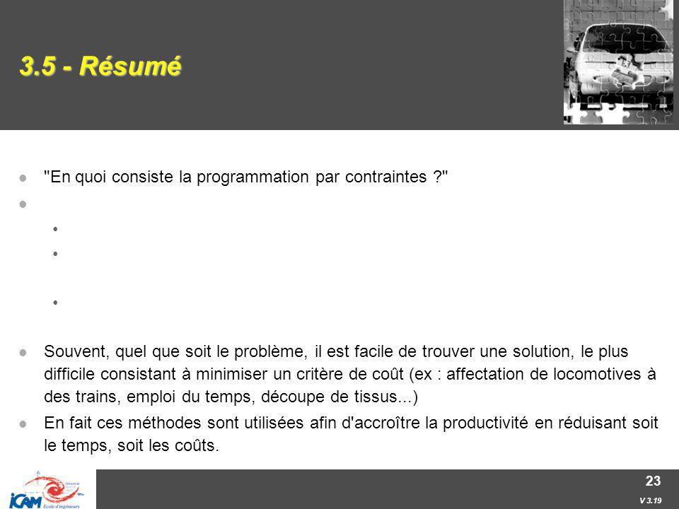 3.5 - Résumé En quoi consiste la programmation par contraintes