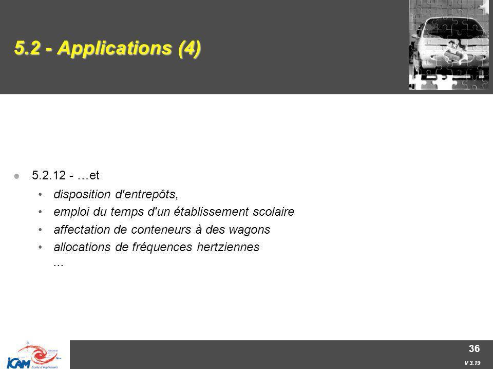 5.2 - Applications (4) 5.2.12 - …et disposition d entrepôts,