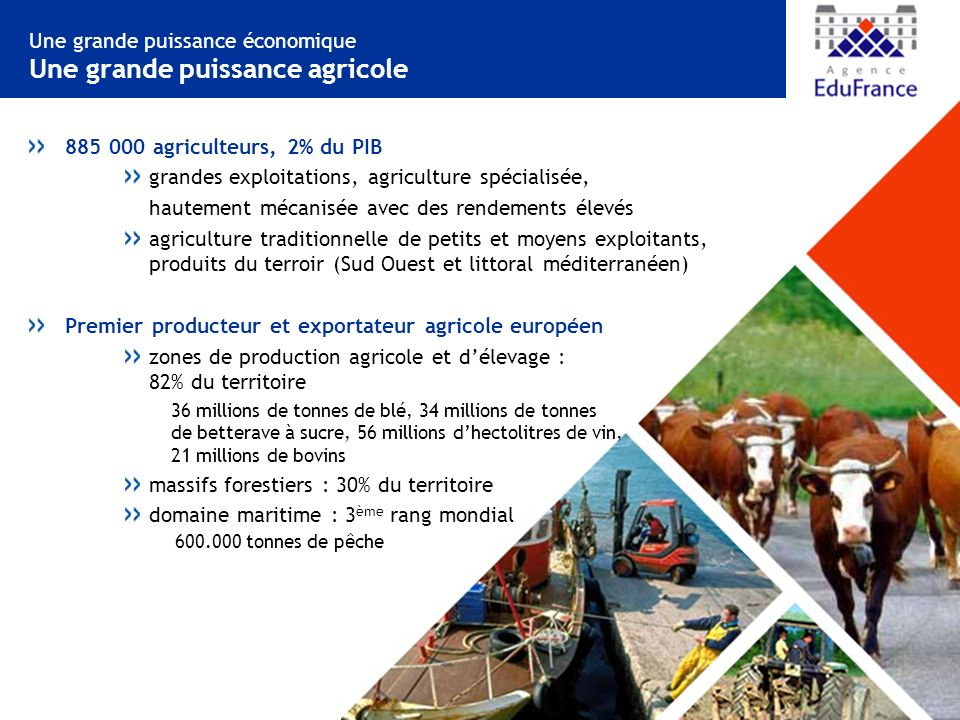 Une grande puissance économique Une grande puissance agricole