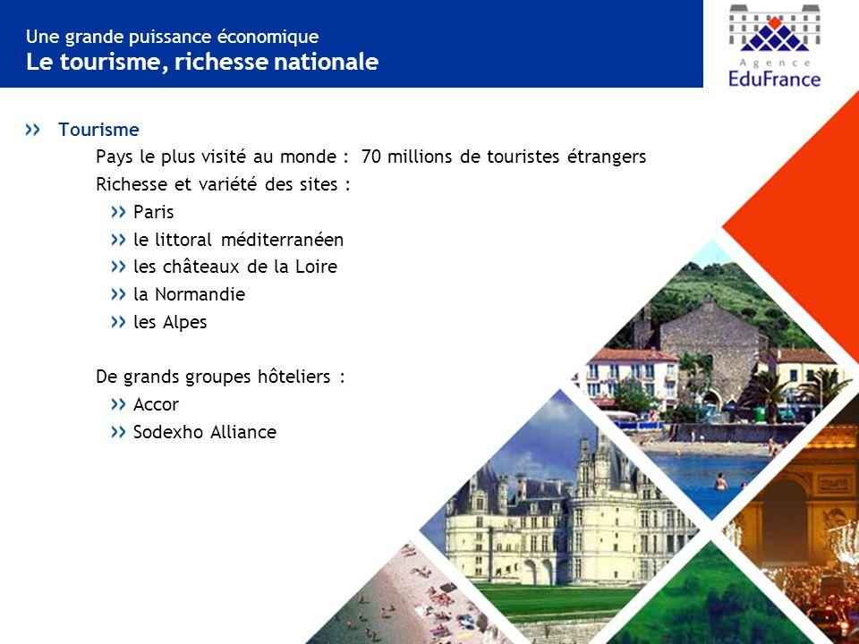 Une grande puissance économique Le tourisme, richesse nationale