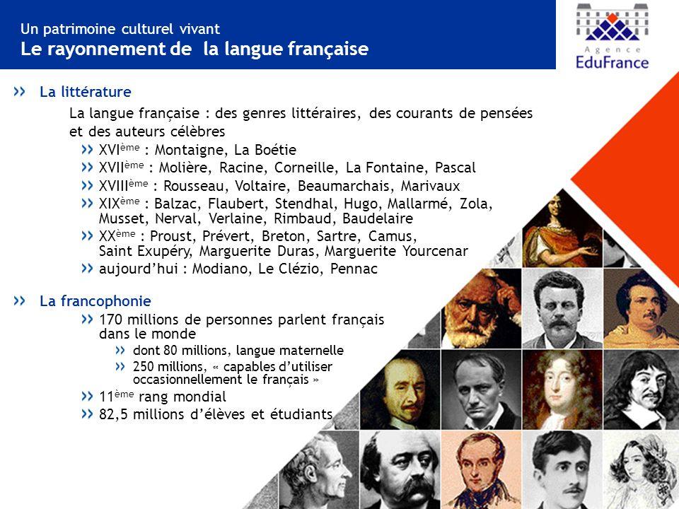 Un patrimoine culturel vivant Le rayonnement de la langue française