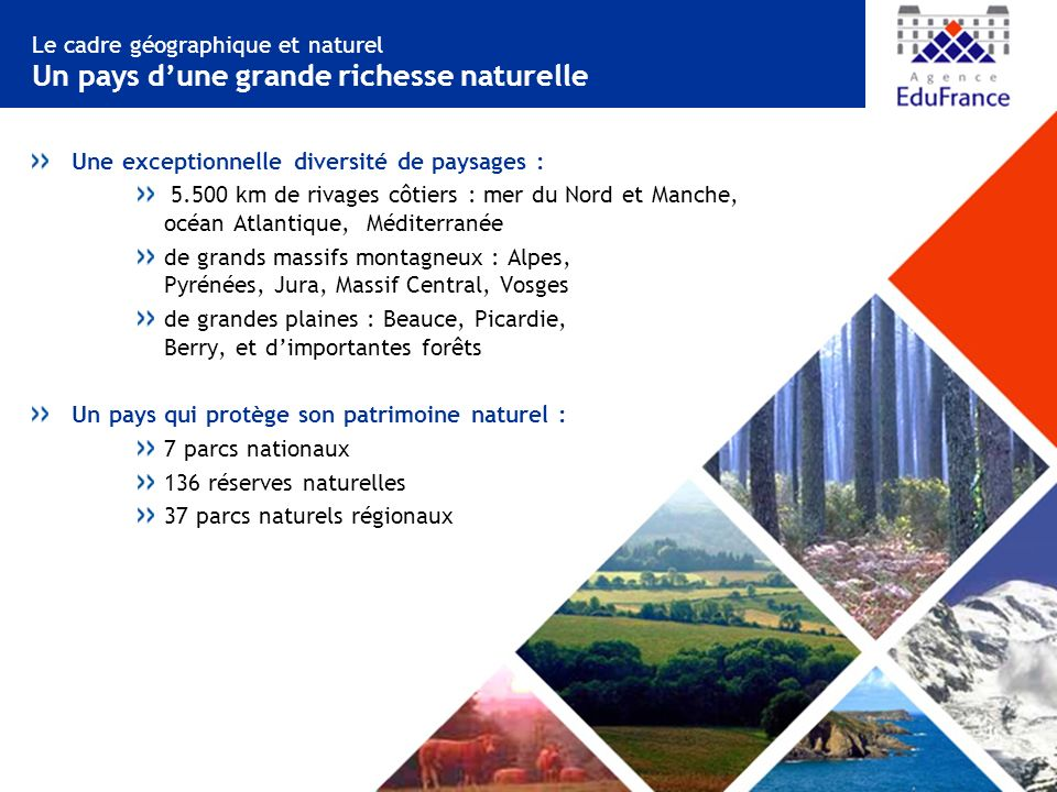 Le cadre géographique et naturel Un pays d'une grande richesse naturelle